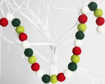 UK Felt Ball Christmas Garland- Pom Pom Garland- Green Red Christmas garland- Christmas tree garland- Xmas Decor - Christmas Party Garland