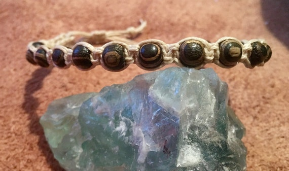 Macrame Natural Wood Beaded Bracelet