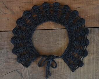 Black crochet collar, goth collar, crochet collar, goth accessory, collar, black party accessory, black crochet, goth outfit, goth, black