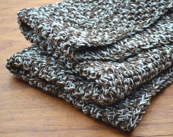Baby blanket, wool blanket, wool and cotton, dark brown and beige, mini blanket, coffee brown blanket, knitted blanket, pure wool blanket