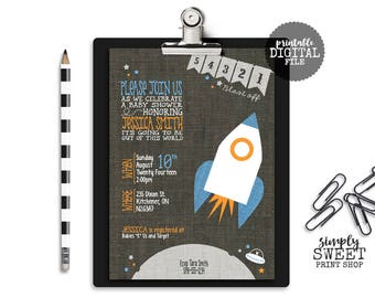 54321 Blast Off Boy Baby Shower Invitation Rocket Ship Outer Space Moon Saucer Cute Unique Modern Gray Linen Blue Orange DIY Boy Baby