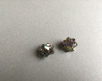 Vintage Glass Aurora Borealis Clip Earrings