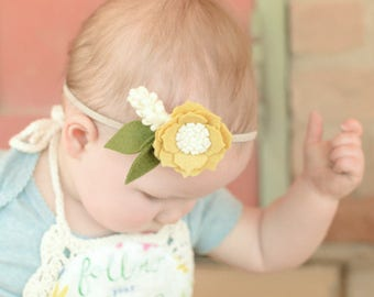 Yellow felt flower headband, felt headband, toddler headband, spring headband , summer felt headband, baby girl headband, felt flowers