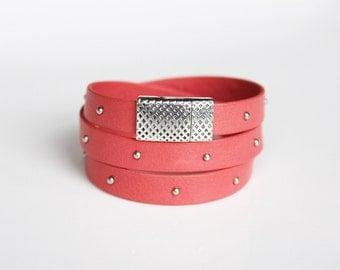 Coral Studded Wrap Bracelet