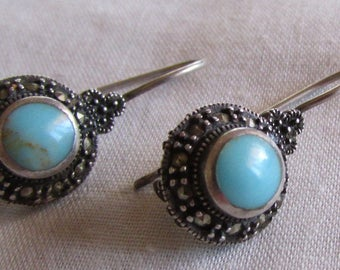 Sterling Silver, Turquoise and Marcasite Dangle Wire Earrings