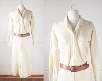 Pale Yellow Sweater Dress, 80s Dress, Boho Dress, Bohemian Clothing, Minimalist Dress, Knit Dress, Normcore Dress, Work Dress, Long Dress