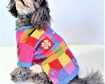 """Dog SWEATER 11"""" Upcycled Spring Colors"""