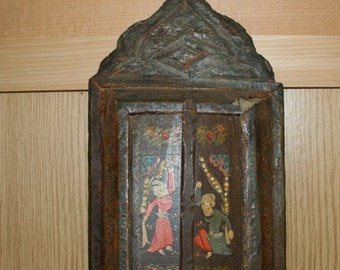 Antique Oriental oil painting wood 45 x 20 cm mirror
