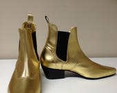 Beat Boots in Gold Leather