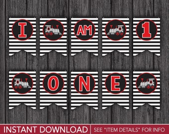 "Train High Chair Banner - ""I AM 1"" Train Birthday Party Decorations - Printable Digital File - INSTANT DOWNLOAD"