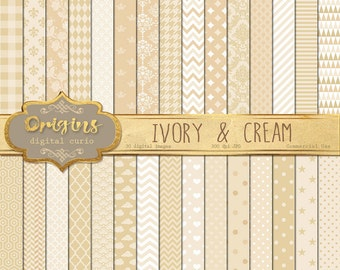 70% OFF Ivory Digital Paper, baby shower paper, ivory cream pattern backgrounds, wedding scrapbook paper instant download commercial use