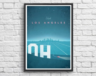 Art-Poster 50 x 70 cm - Hollywood Los Angeles Travel Poster