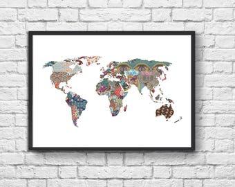 Art-Poster 50 x 70 cm - Graphic Patterns World map