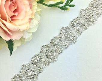 Crystal Rhinestone Bridal Belt-  Bridal Sash - Rhinestone Belt - Wedding Belt - Wedding Accessory - Thick Bridal Belt - wide wedding sash