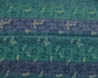 Floral Stripe Fabric - Purple Turquoise Floral -  100% cotton - 1 yard only