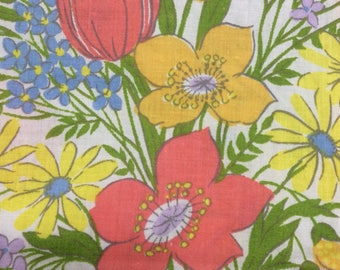 Vintage Dan River Flat Sheet, Vintage Full Sheet, Dantrel by Dan River, Vintage Floral Flat Sheet, No Iron Muslin, Excellent  Condition