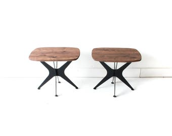 """Pair of Mid Century Inspired Modern """"Stellar"""" End Tables with Jax Style Base"""