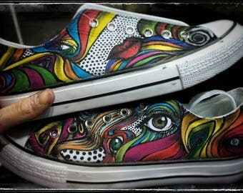 Psychedelic Converse hand painted