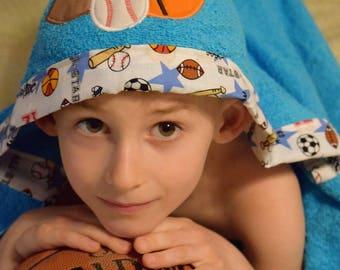 Sports Hooded Towel, Kids towel, Hooded bath towel, Baseball, Soccer, Football, Baseball towel, Stitches by natalie