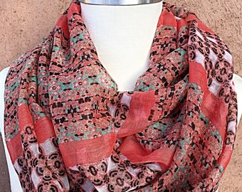 Coral, Mint and Brown Infiniti Scarf / Fabric Scarf / Spring Summer Scarf.