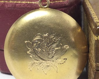 Large Swallow Locket 14k Yellow Gold