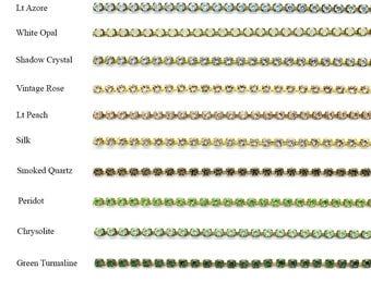 Swarovski PP18 rhinestone brass chain.  Price is for 50 cms.