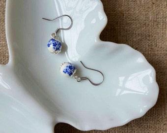 blue floral earrings, blue earrings, Bridesmaid earrings, Sterling silver blue floral dangle earrings, sterling silver bridal earrings.