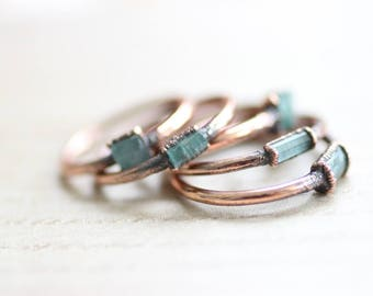 Tiny Raw Blue Tourmaline Ring Copper Ring Tourmaline Electroformed Jewelry