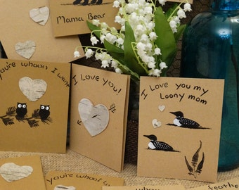 Set of 5 Birch bark greeting cards,Owl loon bear and love theme cards,Valentine's Day card,anniversary cards,special occasion cards