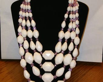 Large multi strand white beads and lavender crystal necklace and clip-on earrings signed West Germany