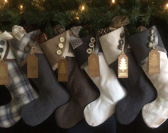 Christmas Stockings Large Contemporary Padded Hand Made Grey/Beige/Brown/Vanilla Collection