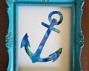 Anchor watercolor painting, anchor art, handmade anchor, anchor painting, nautical decor, nursery art