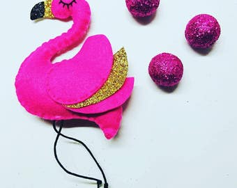 Flamingo Hanging Decoration - Pink with Gold Glitter, Felt Flamingo