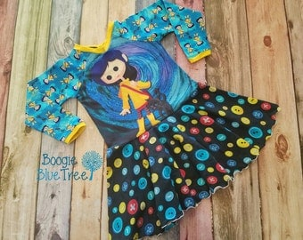 5t Coraline inspired twirl long sleeve dress, little girls dress, Twirly dress, buttons dress