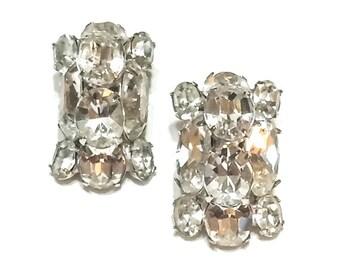 Clear Crystal Earrings, Headlamp Earrings, Signed Eisenberg, Hollywood Regency, Rhodium Silver, Bridal Statement Jewelry, Vintage Jewelry