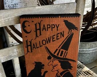 Happy Halloween Sign, Vintage Halloween  Sign, Halloween Sign, Witch Sign, Primitive Halloween