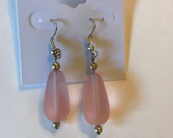 Soft Pink Glass Bead Silver Earrings