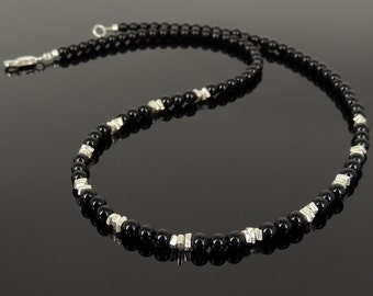 Men's Women Bright Black Onyx 925 Sterling Silver Necklace Handmade Nugget Beads & Clasp DiyNotion Handmade NK153