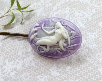 White On Purple Mermaid Hair Clip
