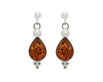 Silver Teardrop Earrings - Teardrop Dangle Earrings - Amber Teardrop Earrings - Amber Dangle Earrings - Cognac Amber Earrings -320E2