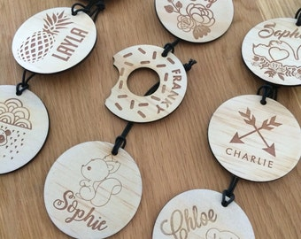 Bag Tags. Timber bag tags for girls