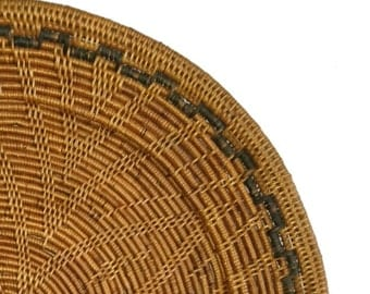 SET OF 4 Rattan Charger Plates - Flower Pattern | Rustic Charger Plates | Balinese Charger Plates