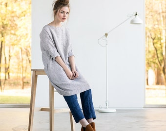 Washed linen tunic NOVEMBER in small checks / Tunic dress in small checks / Linen tunica