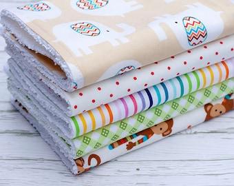 SALE!!! Baby Burp Cloths Set of 5, Baby Gift, Baby Shower Gift, Baby Burpcloths, Gender Neutral Burp Cloths, Monkey Burp Cloths
