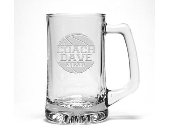 Basketball Coach Beer Mug / Free Personalization / Basketball Coach Gift / Sports Beer Mug /  Personalized Gift / Personalized Glass