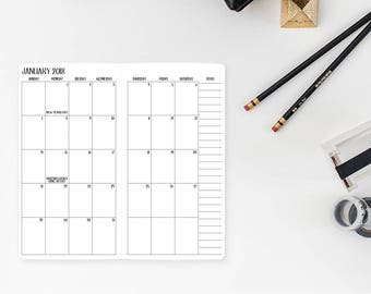 2018 Monthly Standard Traveler's Notebook Insert – Standard size - Month on Two Pages - Mo2p