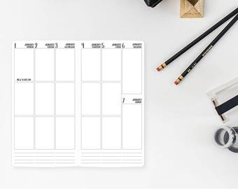 2018 Weekly Vertical Standard Traveler's Notebook Insert – Standard size - Week on Two page - 3 Boxes per day - vertical layout