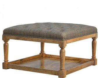 Beautiful multi tweed Upholstered Turned Leg Footstool With Shelf SALE