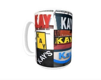 Personalized Coffee Mug featuring the name KAY in photos of signs; Ceramic mug; Unique gift; Coffee cup; Birthday gift; Coffee lover