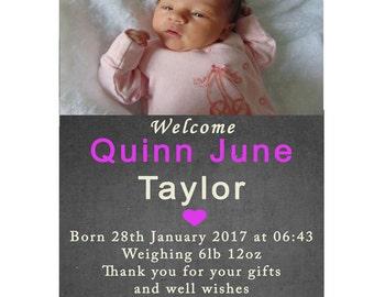 Girl BIRTH ANNOUNCEMENT, Printable Thank you Card, Baby Thank you card, Girl Baby Birth Announcement